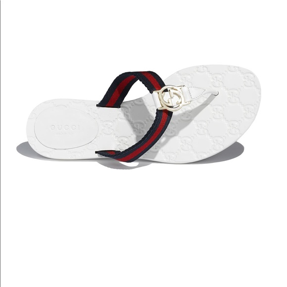 b6a9f6d5f Gucci Shoes | Web White Flip Flop Womens Size 10 Firm | Poshmark